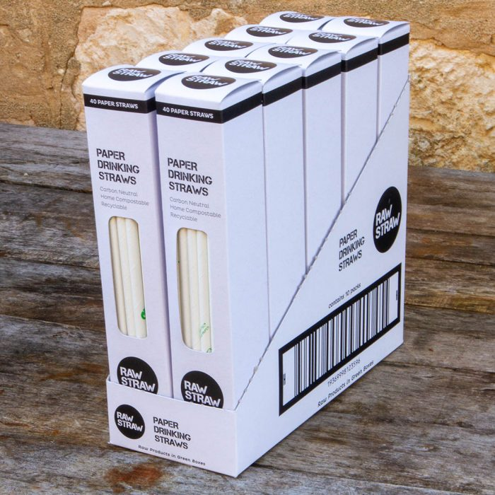 Raw Straw Paper Drinking straw 10 pack CARTON. This carton contains 10 x 40 paper straw packs.