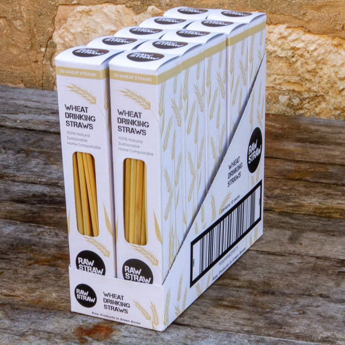 Raw Straw Wheat Drinking straw 10 pack CARTON contains 10 packs of 50 wheat straws