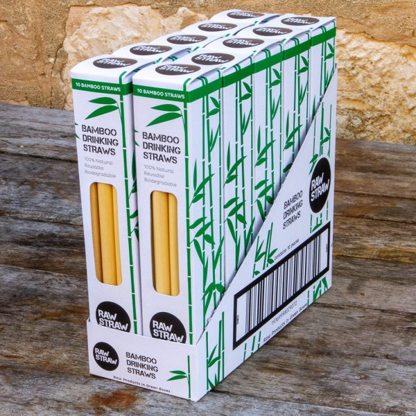 Raw Straw Bamboo Drinking straw 10 pack CARTON contains 10 packs of 10 bamboo straws