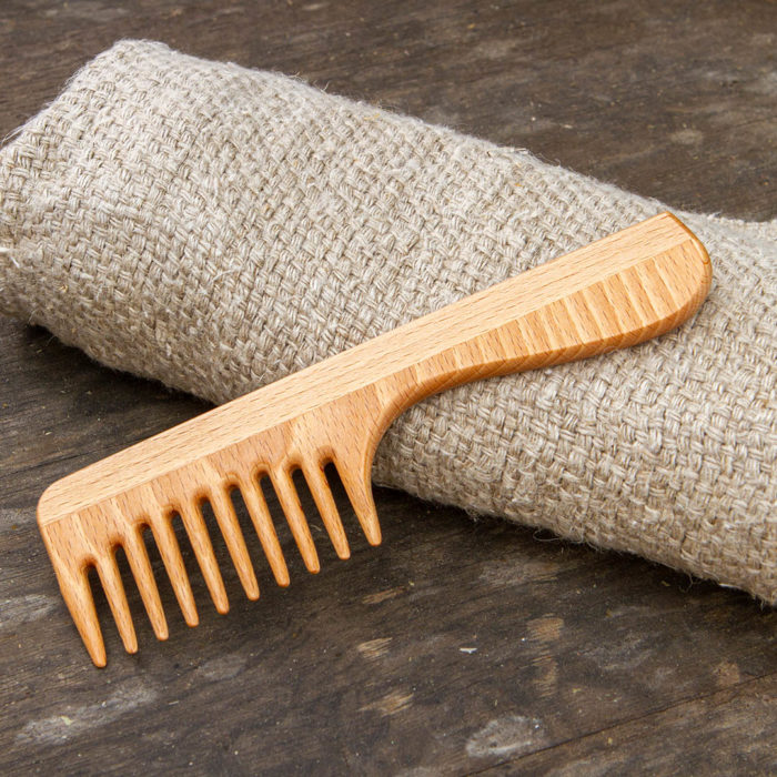 Wooden Hair Comb with Grip Handle